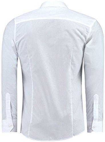 J'S FASHION Herren-Hemd – Slim-Fit – Bügelleicht – Für Anzug, Business, Hochzeit, Freizeit – Langarm Hemden für Männer (3XL, Weiß) - 2