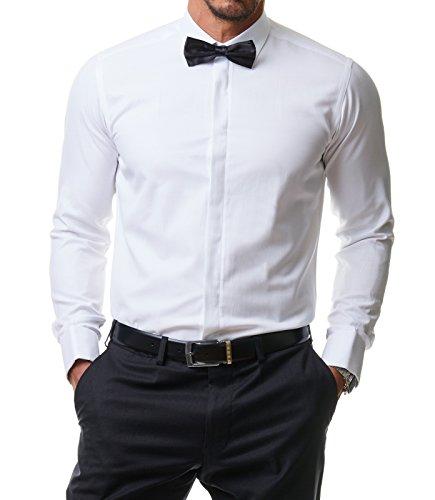 Herren Hemd Klassik Hochzeit Premium Slim Fit, Weiß