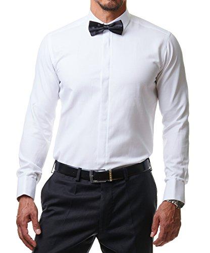 Herren Hemd Smoking Anzug Klassik Business Langarm Fliege Manschettenknöpfe Bügelleicht Hochzeit Premium Slim Fit Shirt PR6615, Farbe:Weiß, Größe:45 / 2XL - 2