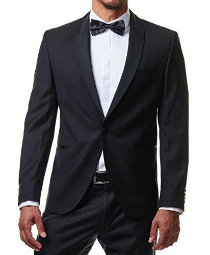 Herren Hemd Smoking Anzug Klassik Business Langarm Fliege Manschettenknöpfe Bügelleicht Hochzeit Premium Slim Fit Shirt PR6615, Farbe:Weiß, Größe:45 / 2XL - 3