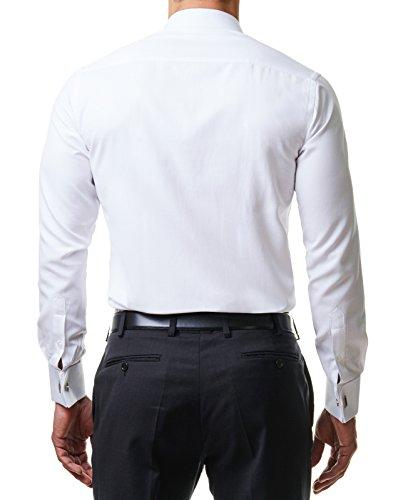 Herren Hemd Smoking Anzug Klassik Business Langarm Fliege Manschettenknöpfe Bügelleicht Hochzeit Premium Slim Fit Shirt PR6615, Farbe:Weiß, Größe:45 / 2XL - 4
