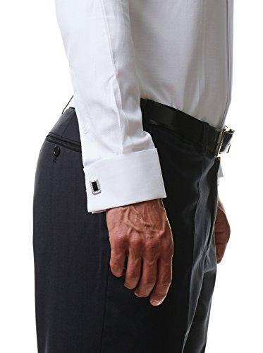 Herren Hemd Smoking Anzug Klassik Business Langarm Fliege Manschettenknöpfe Bügelleicht Hochzeit Premium Slim Fit Shirt PR6615, Farbe:Weiß, Größe:45 / 2XL - 5