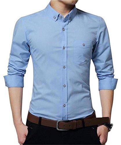 AIYINO Herren Hemd Für Business Freizeit Hochzeit Baumwolle 6 Farben zur Auswahl XS-XL (XL SkyBlue) - 2