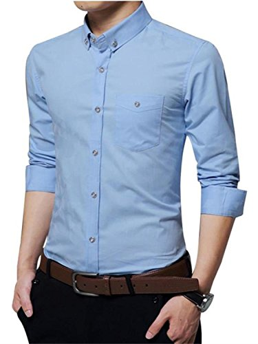 AIYINO Herren Hemd Für Business Freizeit Hochzeit Baumwolle 6 Farben zur Auswahl XS-XL (XL SkyBlue) - 3