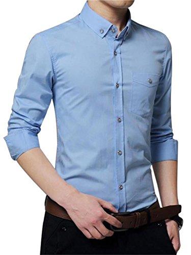 AIYINO Herren Hemd Für Business Freizeit Hochzeit Baumwolle 6 Farben zur Auswahl XS-XL (XL SkyBlue) - 4