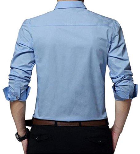 AIYINO Herren Hemd Für Business Freizeit Hochzeit Baumwolle 6 Farben zur Auswahl XS-XL (XL SkyBlue) - 5