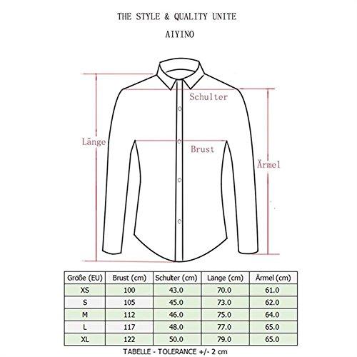 AIYINO Herren Hemd Für Business Freizeit Hochzeit Baumwolle 6 Farben zur Auswahl XS-XL (XL SkyBlue) - 6