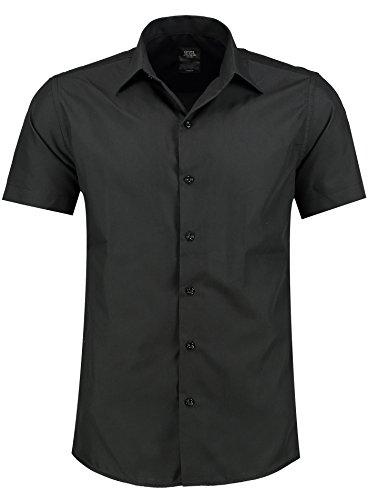 Jeel Herren-Hemd – Slim-Fit – Bügelleicht – Schwarz