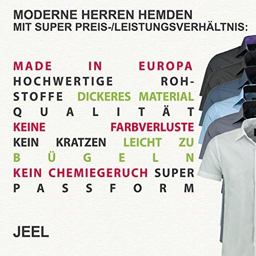 Jeel Herren-Hemd – Slim-Fit – Bügelleicht – Business, Hochzeit, Freizeit – Kurzarm-Hemd für Männer 205 Schwarz L - 3