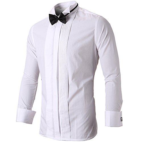 HARRMS Herren Smoking Hemd Slim Fit mit Krawatte Manschettenknopf Button Down Für Business Hochzeit Freizeit Bügelleicht/Bügelfrei,Weiß,44 - 2