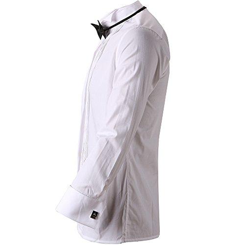HARRMS Herren Smoking Hemd Slim Fit mit Krawatte Manschettenknopf Button Down Für Business Hochzeit Freizeit Bügelleicht/Bügelfrei,Weiß,44 - 3