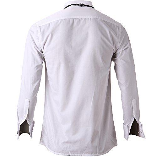 HARRMS Herren Smoking Hemd Slim Fit mit Krawatte Manschettenknopf Button Down Für Business Hochzeit Freizeit Bügelleicht/Bügelfrei,Weiß,44 - 4