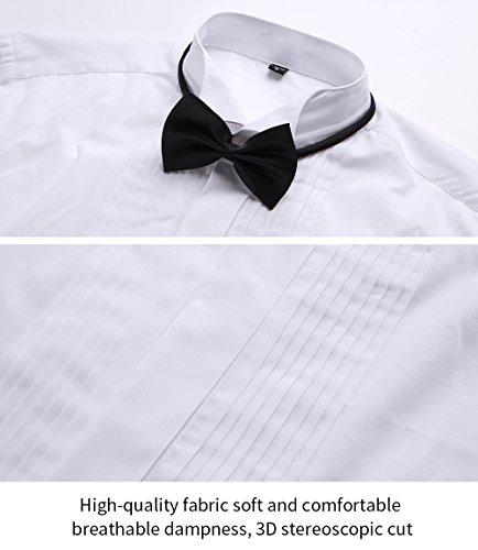 HARRMS Herren Smoking Hemd Slim Fit mit Krawatte Manschettenknopf Button Down Für Business Hochzeit Freizeit Bügelleicht/Bügelfrei,Weiß,44 - 5