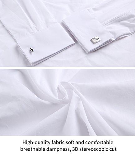 HARRMS Herren Smoking Hemd Slim Fit mit Krawatte Manschettenknopf Button Down Für Business Hochzeit Freizeit Bügelleicht/Bügelfrei,Weiß,44 - 6