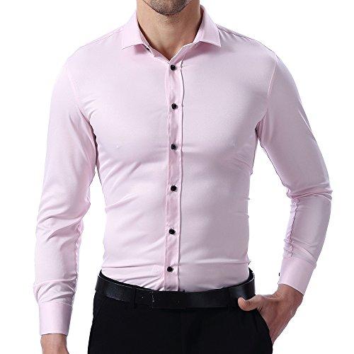Herren Hemd Slim Fit Bügelleicht, Pink