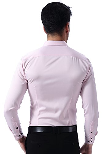 Herren Hemd Slim Fit Bügelleicht für Anzug Business Hochzeit Freizeit Langarm Hemden Shirts für Männer,Pink,M - 2