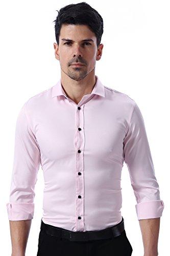 Herren Hemd Slim Fit Bügelleicht für Anzug Business Hochzeit Freizeit Langarm Hemden Shirts für Männer,Pink,M - 3