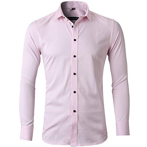 Herren Hemd Slim Fit Bügelleicht für Anzug Business Hochzeit Freizeit Langarm Hemden Shirts für Männer,Pink,M - 4