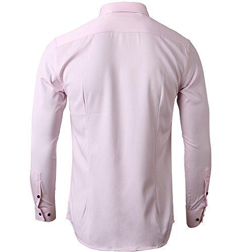 Herren Hemd Slim Fit Bügelleicht für Anzug Business Hochzeit Freizeit Langarm Hemden Shirts für Männer,Pink,M - 5