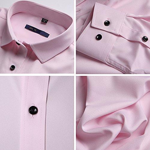 Herren Hemd Slim Fit Bügelleicht für Anzug Business Hochzeit Freizeit Langarm Hemden Shirts für Männer,Pink,M - 6