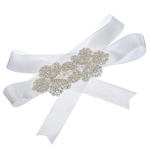 Topwedding Elfenbein Satin Hochzeits Schärpe mit Strass