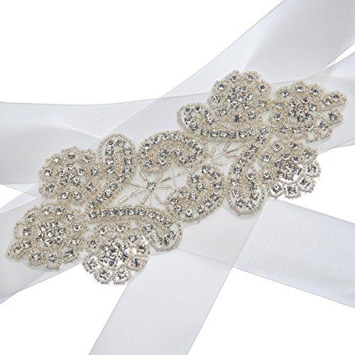 Topwedding Elfenbein Satin Hochzeits Schärpe mit Strass Fashion -