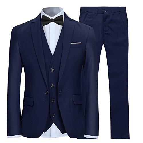 Anzug Smoking 3-teilig, Slim Fit, Blau, Medium
