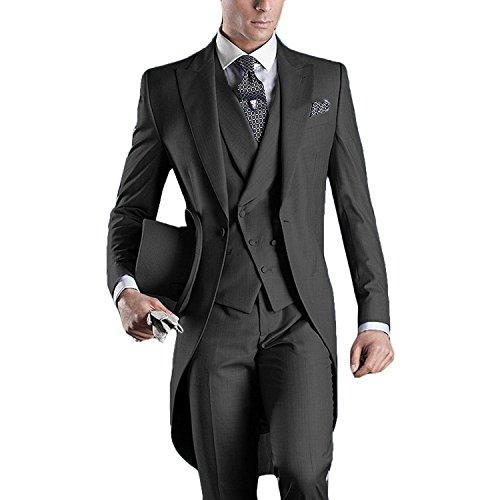 Herren Tail Tuxedo 3pc Frack Anzug in Grau