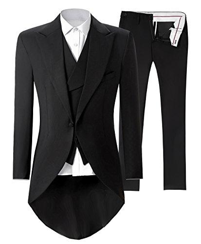 Lilis® Premium Herren Tail Tuxedo 3pc Frack Anzug in Grau Schwarz Anzugjacke, Weste, Anzughose - 2