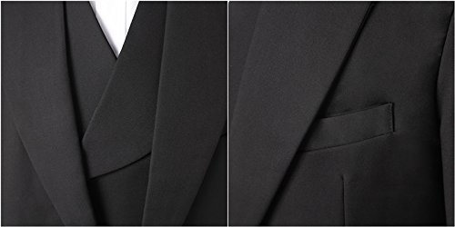 Lilis® Premium Herren Tail Tuxedo 3pc Frack Anzug in Grau Schwarz Anzugjacke, Weste, Anzughose - 6