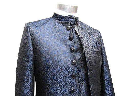 MUGA Hochzeit Anzug Cutaway 5-teilig Jacquard Dunkelblau 52 - 4