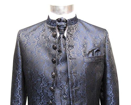 MUGA Hochzeit Anzug Cutaway 5-teilig Jacquard Dunkelblau 52 - 5