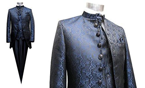 MUGA Hochzeit Anzug Cutaway 5-teilig Jacquard Dunkelblau 52 - 6