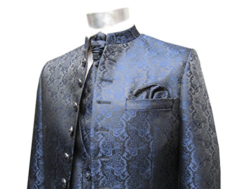 MUGA Hochzeit Anzug Cutaway 5-teilig Jacquard Dunkelblau 52 - 7