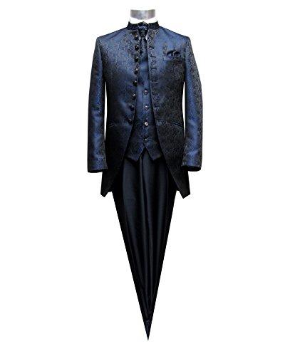 MUGA Hochzeit Anzug Cutaway 5-teilig Jacquard Dunkelblau 52 - 8