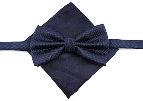 MASSI MORINO Fliege mit Einstecktuch inkl. Geschenkbox, Verstellbare Designer Schleife in Verschiedenen Farben (Dunkelblau) - 2