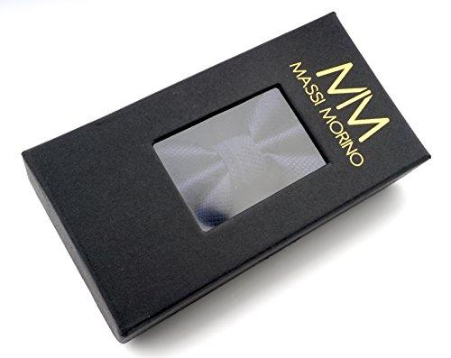MASSI MORINO Fliege mit Einstecktuch inkl. Geschenkbox, Verstellbare Designer Schleife in Verschiedenen Farben (Dunkelblau) - 4