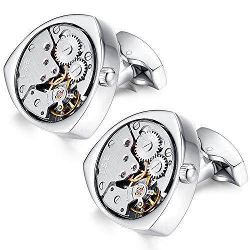 Honey Bear 1 Paar Herren Manschettenknöpfe Cufflinks Steampunk Uhrwerk Bewegung beweglich Edelstahl für Geschäftshochzeitsgeschenk mit Kasten,Dreieck (Silber) - 2