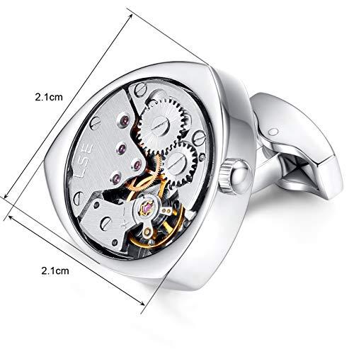 Honey Bear 1 Paar Herren Manschettenknöpfe Cufflinks Steampunk Uhrwerk Bewegung beweglich Edelstahl für Geschäftshochzeitsgeschenk mit Kasten,Dreieck (Silber) - 5