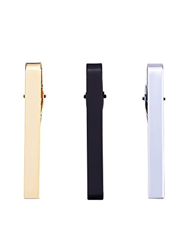 3 Stück Herren Krawatten Bar Clips Krawattennadel Krawattennadel Krawattenklammer Tie,Silber,Schwarz und Golden - 5