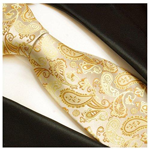 Krawatte von Paul Malone creme gold paisley Hochzeitskrawatte Bräutigam -