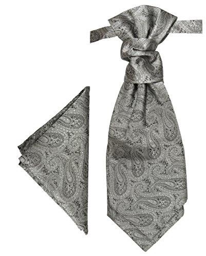 Paul Malone Plastron Set silber grau 2tlg Plastron mit Einstecktuch