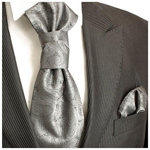 Paul Malone Plastron Set silber grau 2tlg Plastron mit Einstecktuch -