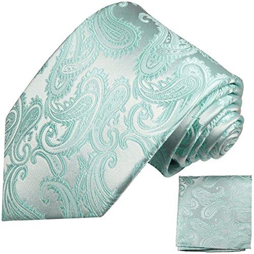 Hell türkise paisley Krawatten Set 2tlg 100% Seidenkrawatte fleckabweisend