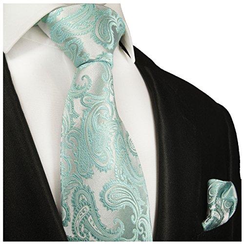 Hell türkise paisley Krawatten Set 2tlg 100% Seidenkrawatte fleckabweisend -