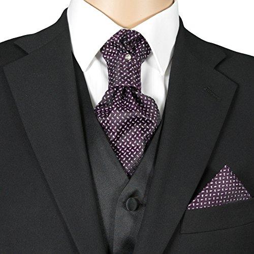 3- SET Plastron Krawatte & Einstecktuch Violett Schwarz Silber Punkte