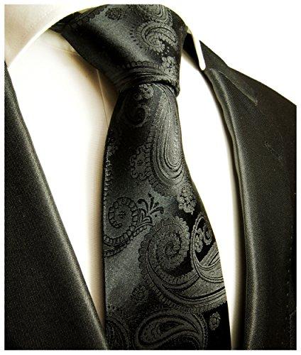 Paul Malone Schwarz Paisley Krawatte 100% Seide Seidenkrawatte -