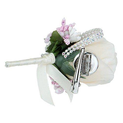 Rose Anstecker Hochzeit Gästeanstecker Hochzeitsanstecker Anstecknadel - Beige - 5