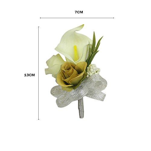 Fantasy Closet Wedding Künstliche Blumen Hochzeit Rose Braut Brooch Anstecker Boutonniere Corsage Flower Männer Herren Party Dekoration Dunkelrot - 2