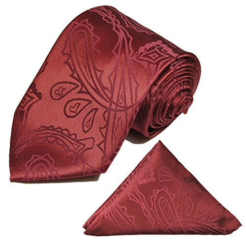 Krawatten Set 2tlg Krawatte + Einstecktuch von Paul Malone weinrot